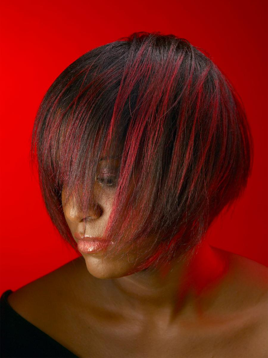 Red Background, Hair, Salon Shoot